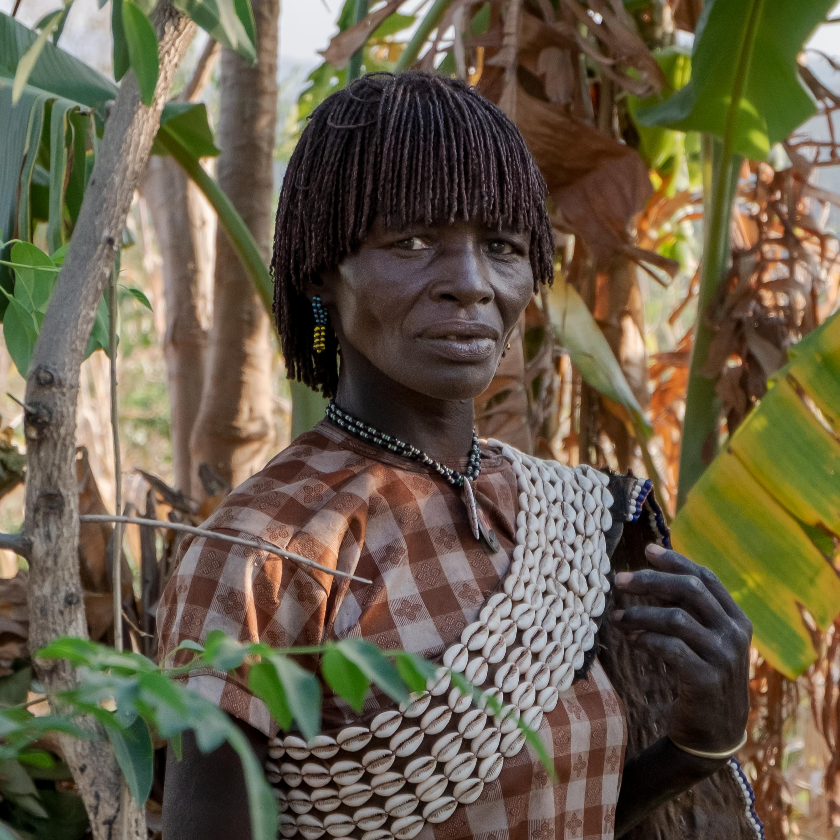 Portrait of a woman belonging to the Hammer Tribe in Omo Valley, Ethiopia.